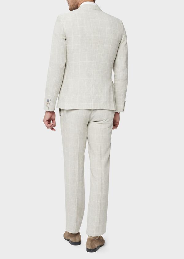 Veste coordonnable Slim en lin beige Prince de Galles - Father and Sons 38889