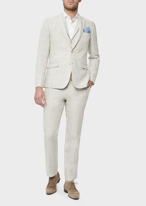 Veste coordonnable Slim en lin beige Prince de Galles - Father and Sons 38888