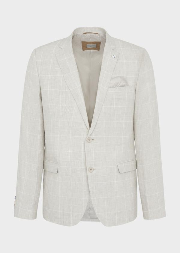 Veste coordonnable Slim en lin beige Prince de Galles - Father and Sons 38886
