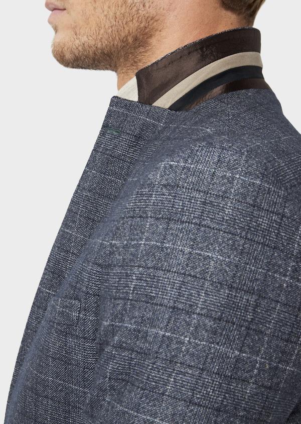 Veste coordonnable Slim en laine mélangée bleue Prince de Galles - Father and Sons 36428