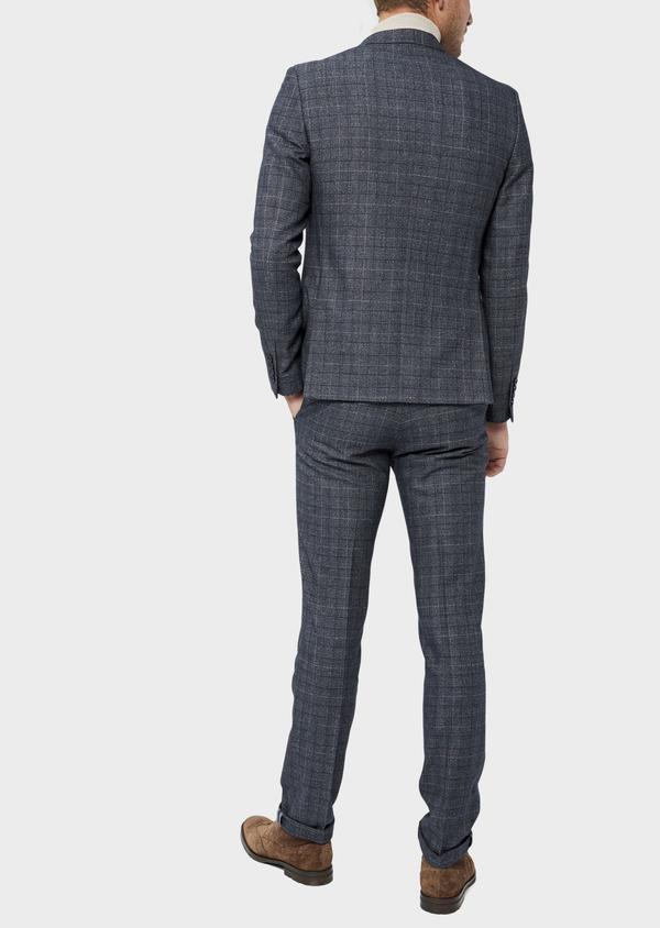 Veste coordonnable Slim en laine mélangée bleue Prince de Galles - Father and Sons 36427