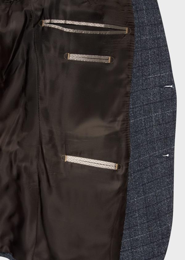 Veste coordonnable Slim en laine mélangée bleue Prince de Galles - Father and Sons 36430