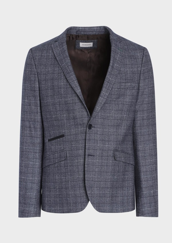 Veste coordonnable Slim en laine mélangée bleue Prince de Galles - Father and Sons 36424