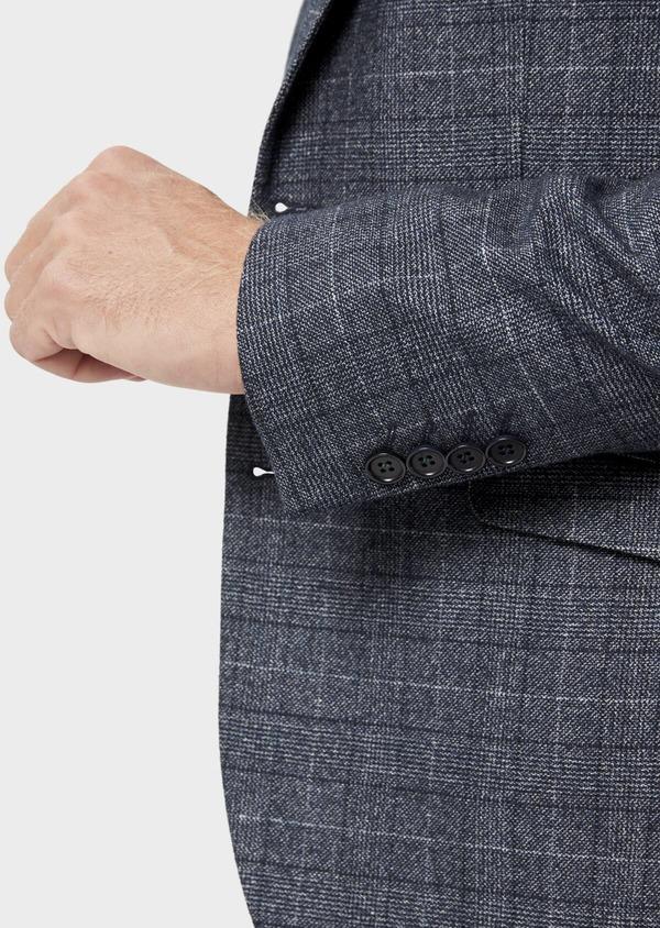 Veste coordonnable Slim en laine mélangée bleue Prince de Galles - Father and Sons 36429