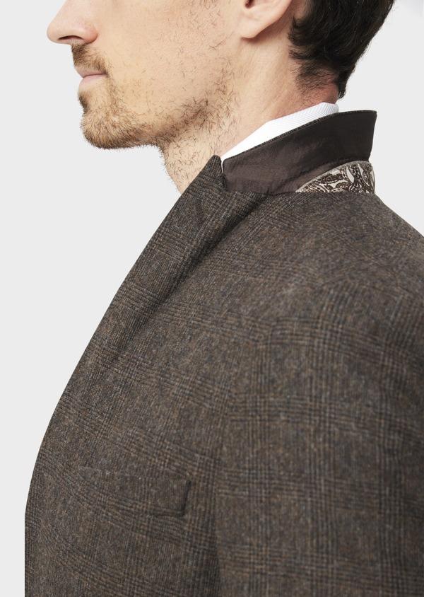 Veste coordonnable Slim en laine mélangée marron Prince de Galles - Father and Sons 37402