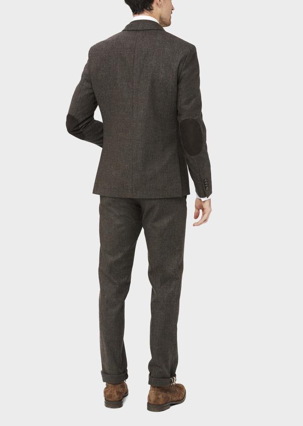 Veste coordonnable Slim en laine mélangée marron Prince de Galles - Father and Sons 37399
