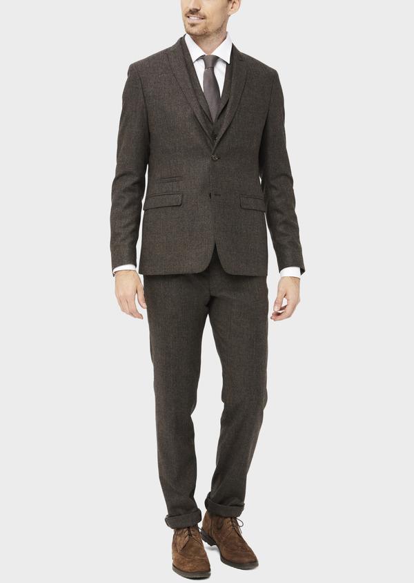 Veste coordonnable Slim en laine mélangée marron Prince de Galles - Father and Sons 37398