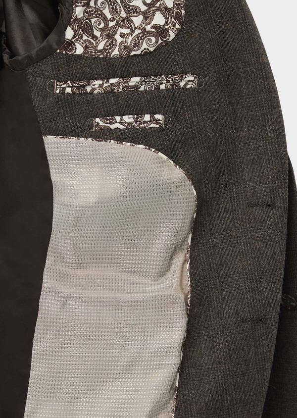 Veste coordonnable Slim en laine mélangée marron Prince de Galles - Father and Sons 37400