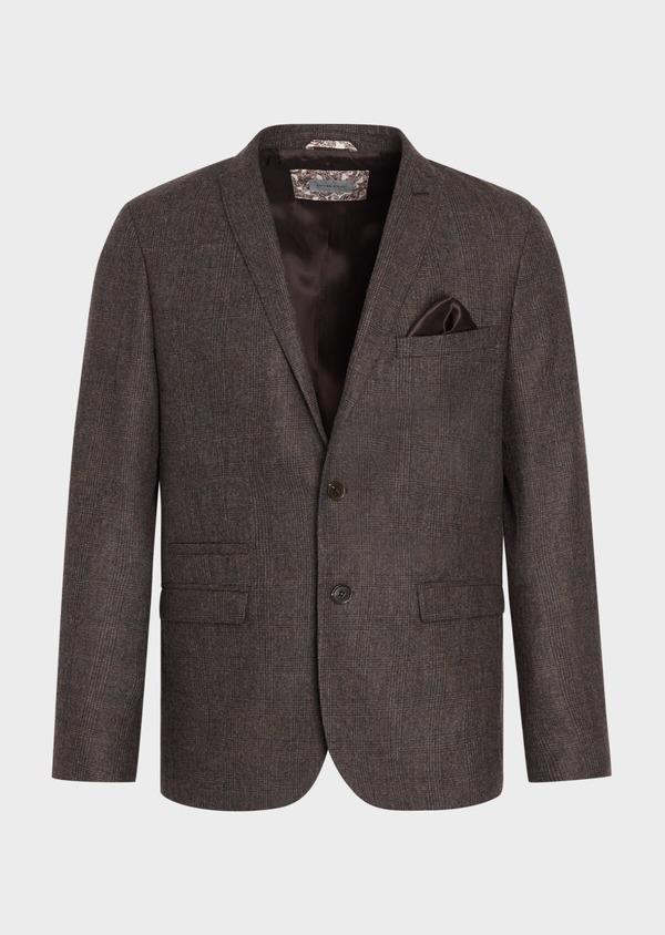 Veste coordonnable Slim en laine mélangée marron Prince de Galles - Father and Sons 37396