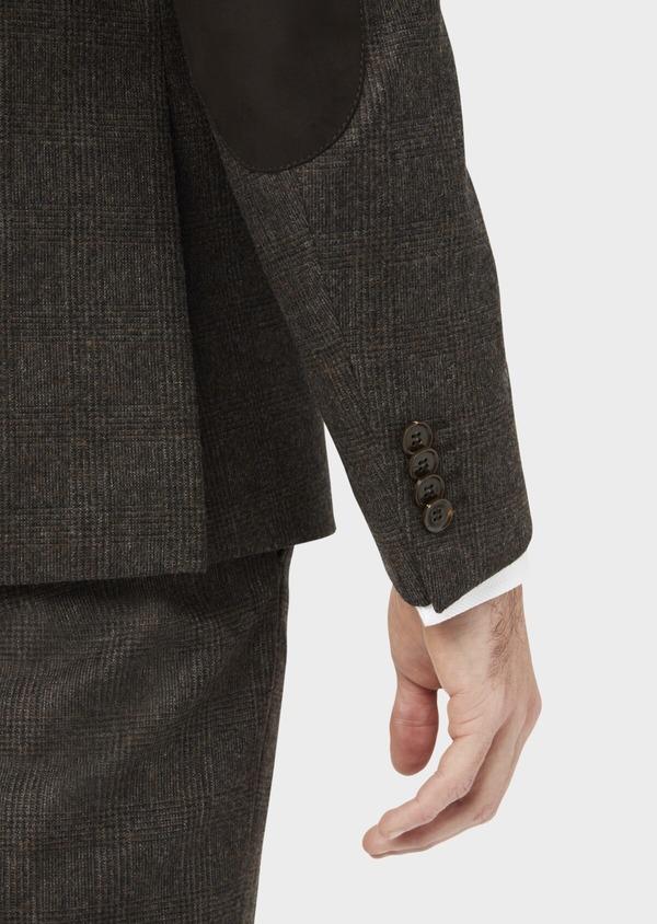 Veste coordonnable Slim en laine mélangée marron Prince de Galles - Father and Sons 37401