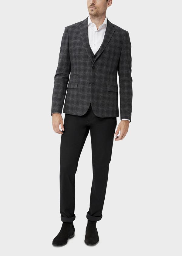 Veste coordonnable Slim en laine mélangée grise Prince de Galles - Father and Sons 35553