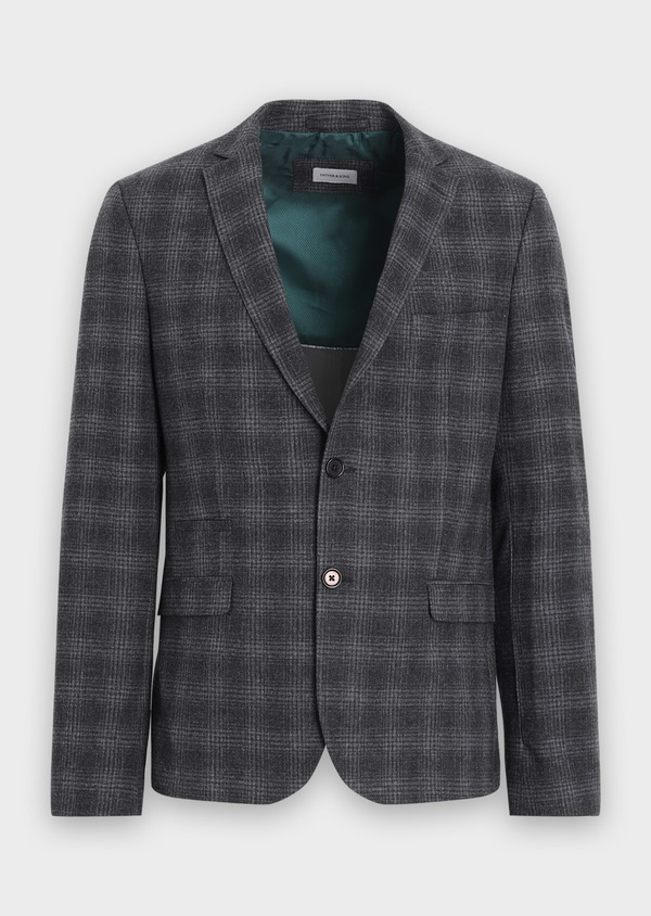 Veste coordonnable Slim en laine mélangée grise Prince de Galles - Father and Sons 35551