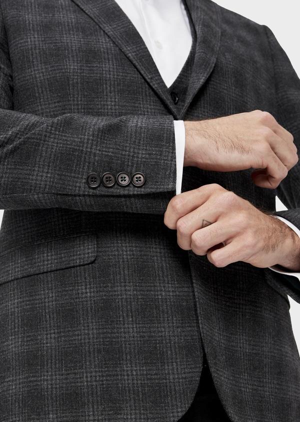 Veste coordonnable Slim en laine mélangée grise Prince de Galles - Father and Sons 35556