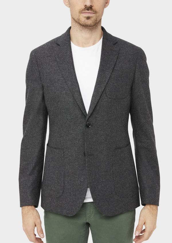 Veste casual Slim en flanelle gris anthracite avec parementure bleue amovible - Father and Sons 36859