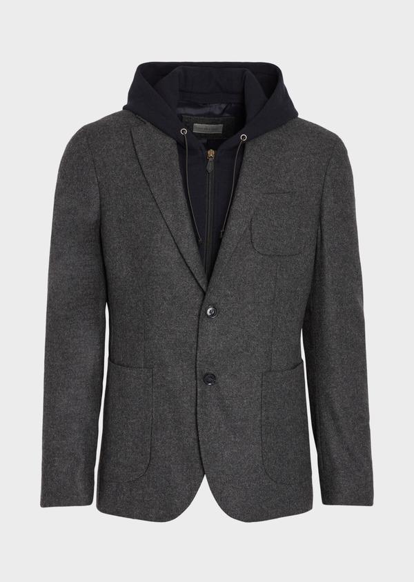 Veste casual Slim en flanelle gris anthracite avec parementure bleue amovible - Father and Sons 36852