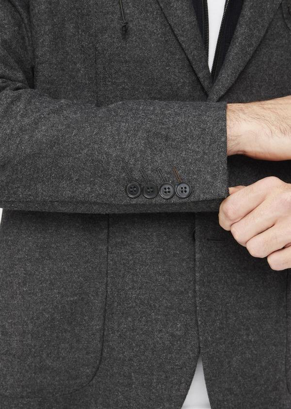 Veste casual Slim en flanelle gris anthracite avec parementure bleue amovible - Father and Sons 36857