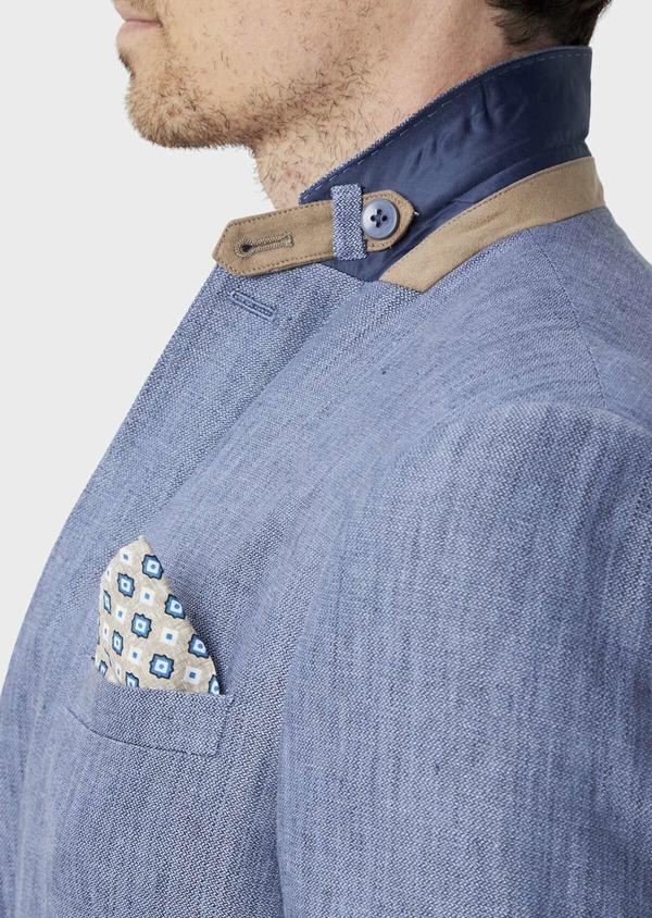 Veste coordonnable Slim en lin uni bleu indigo - Father and Sons 40215