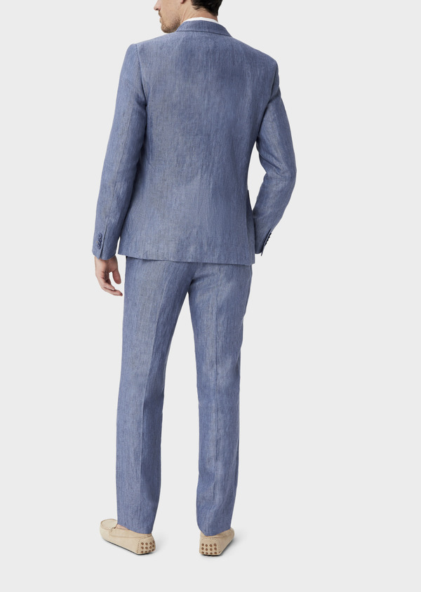 Veste coordonnable Slim en lin uni bleu indigo - Father and Sons 40214