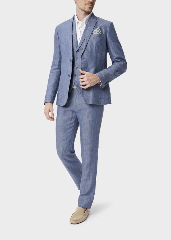Veste coordonnable Slim en lin uni bleu indigo - Father and Sons 40213
