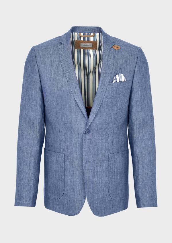 Veste coordonnable Slim en lin uni bleu indigo - Father and Sons 40211