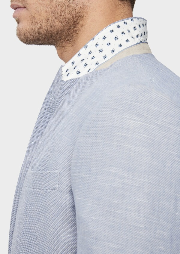 Veste coordonnable Slim en coton et lin uni bleu chambray - Father and Sons 38904