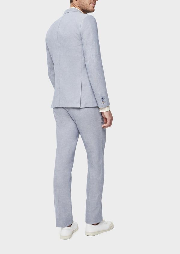 Veste coordonnable Slim en coton et lin uni bleu chambray - Father and Sons 38903