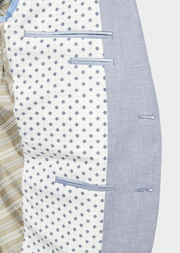 Veste coordonnable Slim en coton et lin uni bleu chambray - Father and Sons 38906