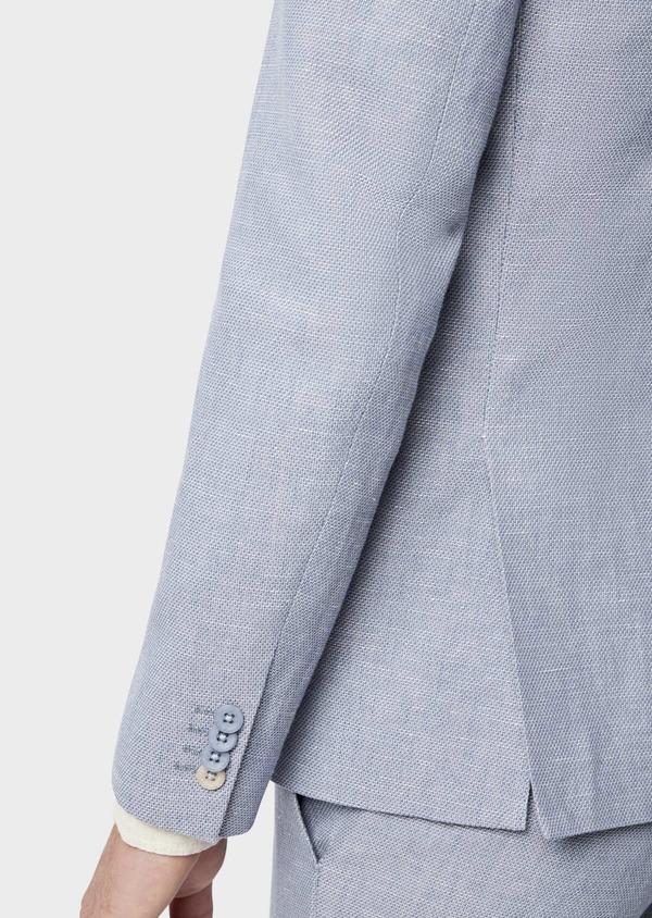 Veste coordonnable Slim en coton et lin uni bleu chambray - Father and Sons 38905