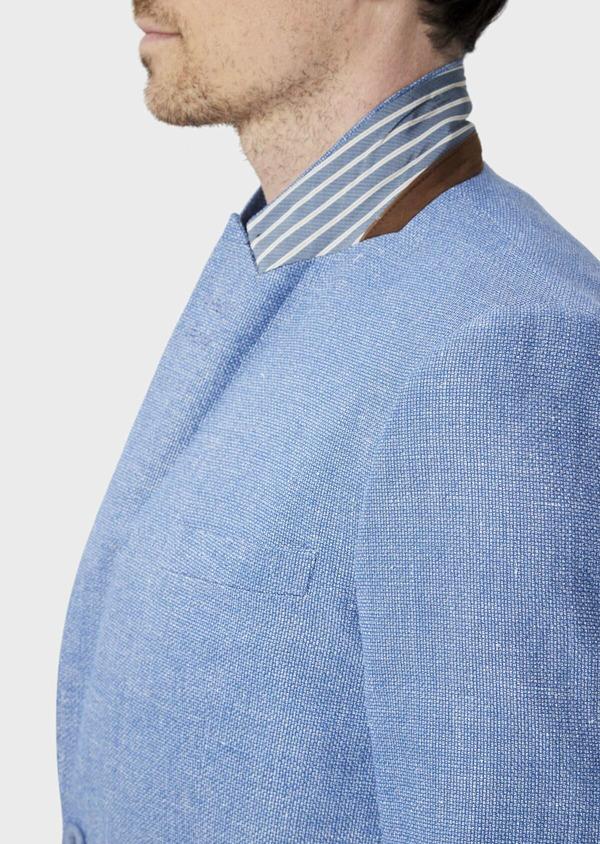 Veste coordonnable Slim en lin et coton uni bleu - Father and Sons 39963