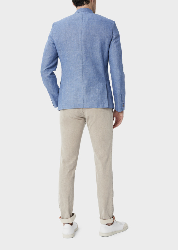 Veste coordonnable Slim en lin et coton uni bleu - Father and Sons 39962