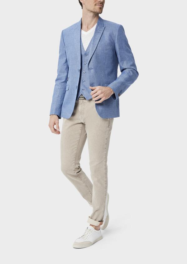 Veste coordonnable Slim en lin et coton uni bleu - Father and Sons 39961