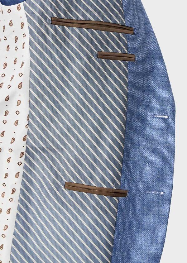Veste coordonnable Slim en lin et coton uni bleu - Father and Sons 39965