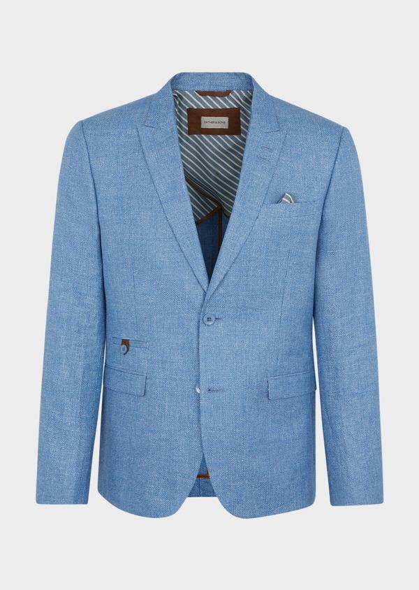Veste coordonnable Slim en lin et coton uni bleu - Father and Sons 39959