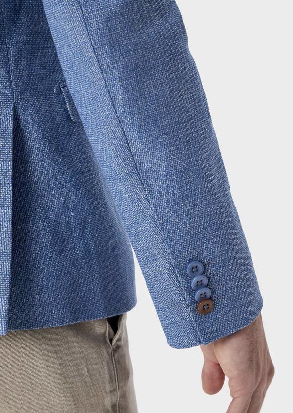 Veste coordonnable Slim en lin et coton uni bleu - Father and Sons 39964