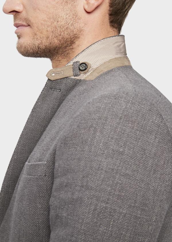 Veste casual Slim en lin et coton uni gris anthracite - Father and Sons 38931