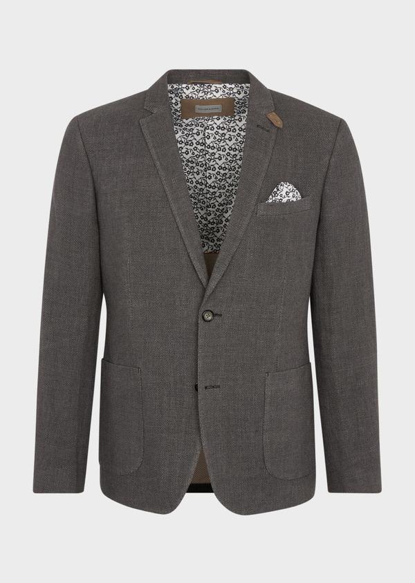 Veste casual Slim en lin et coton uni gris anthracite - Father and Sons 38927
