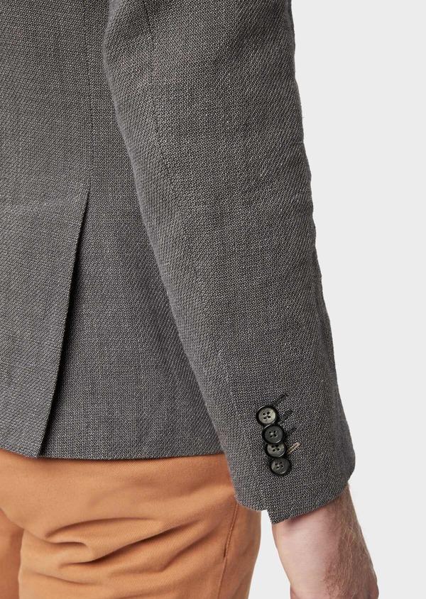 Veste casual Slim en lin et coton uni gris anthracite - Father and Sons 38932