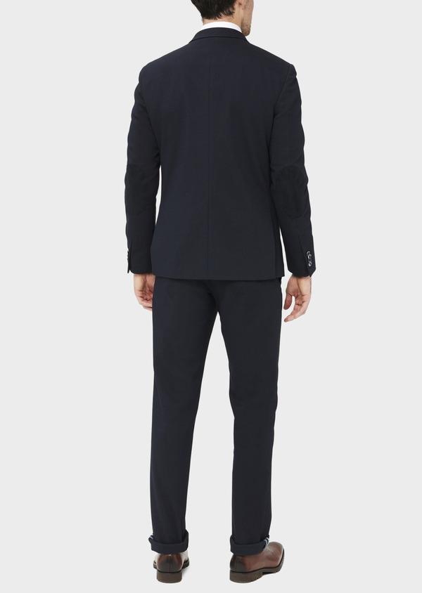 Veste coordonnable Slim en coton mélangé à pois bleu marine - Father and Sons 36841