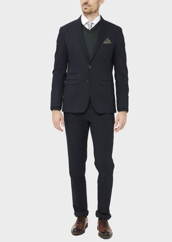Veste coordonnable Slim en coton mélangé à pois bleu marine - Father and Sons 36840