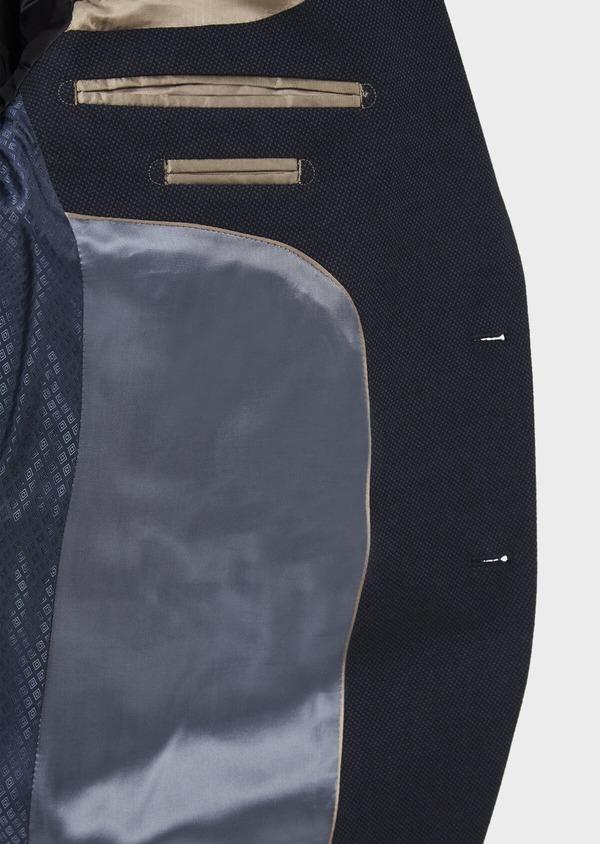 Veste coordonnable Slim en coton mélangé à pois bleu marine - Father and Sons 36844