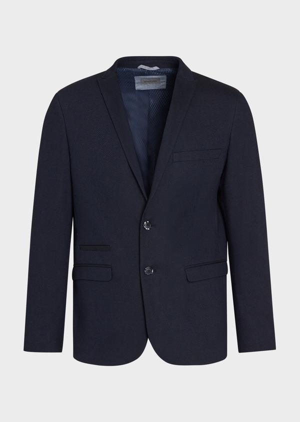 Veste coordonnable Slim en coton mélangé à pois bleu marine - Father and Sons 36838
