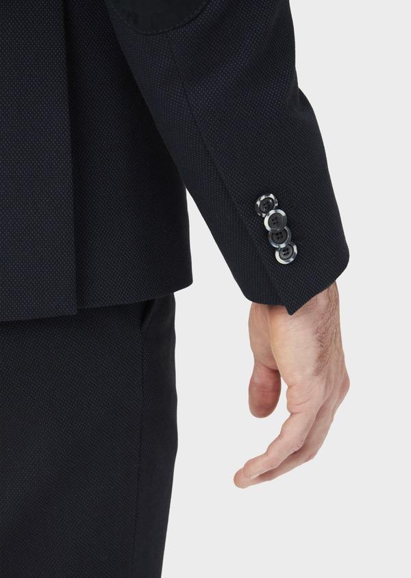 Veste coordonnable Slim en coton mélangé à pois bleu marine - Father and Sons 36843