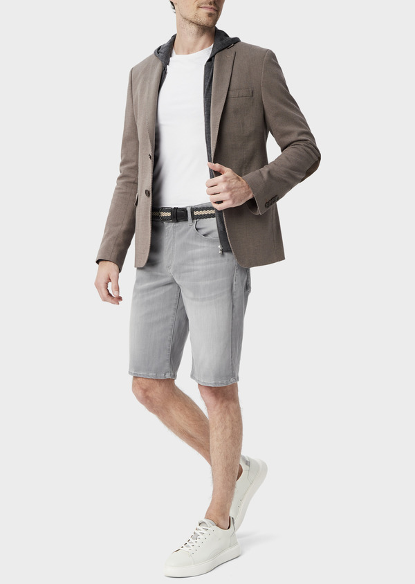 Veste coordonnable Slim en coton uni marron - Father and Sons 39954