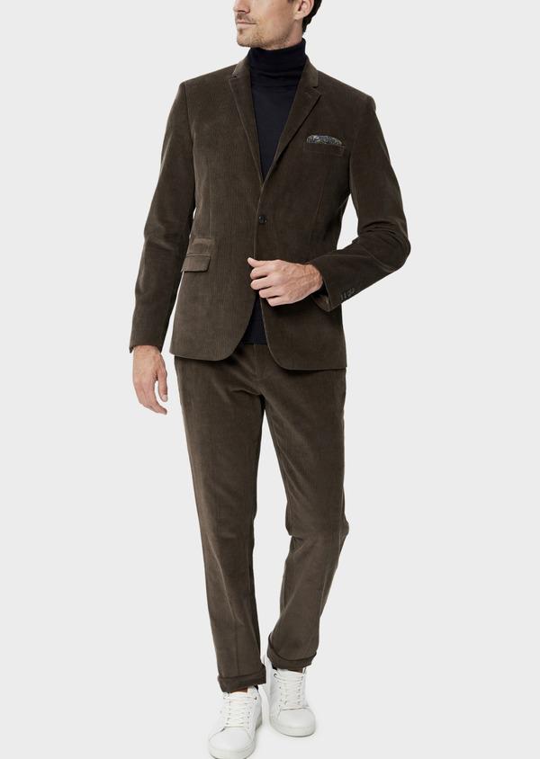 Veste coordonnable Slim en velours côtelé marron - Father and Sons 35539