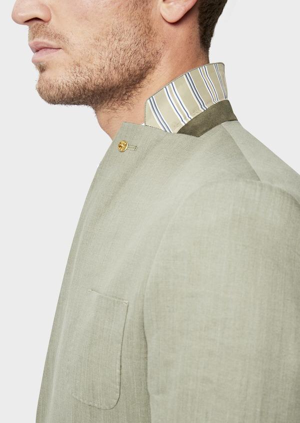 Veste coordonnable Slim en lin et coton uni vert kaki - Father and Sons 38897