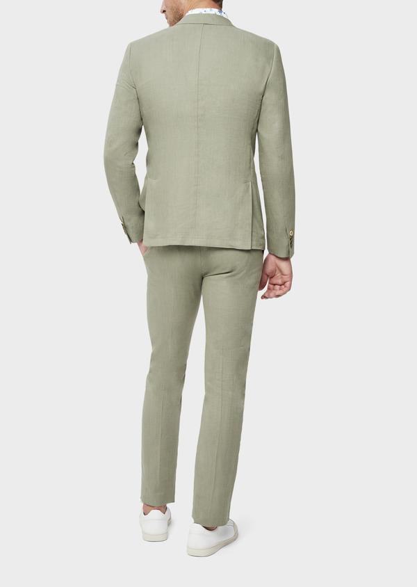 Veste coordonnable Slim en lin et coton uni vert kaki - Father and Sons 38896