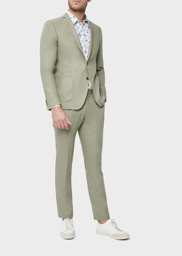 Veste coordonnable Slim en lin et coton uni vert kaki - Father and Sons 38895
