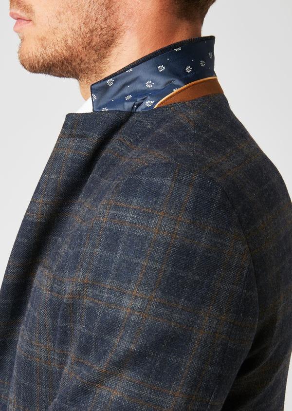 Veste casual Regular en laine bleu marine Prince de Galles - Father and Sons 27119