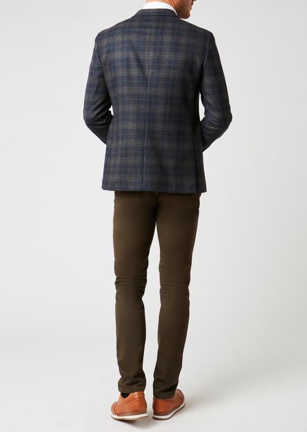Veste casual Regular en laine bleu marine Prince de Galles - Father and Sons 27118