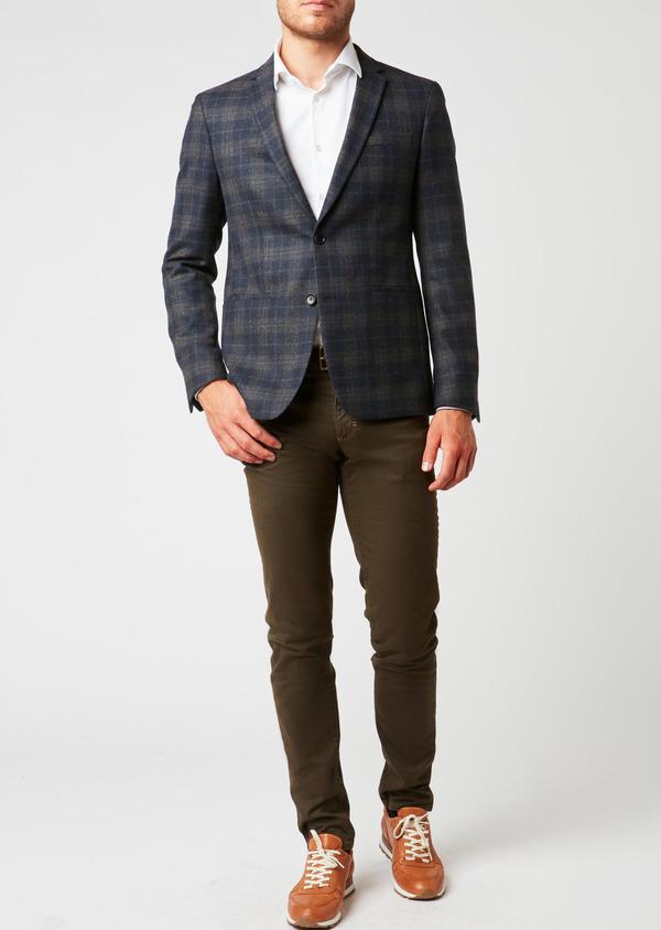 Veste casual Regular en laine bleu marine Prince de Galles - Father and Sons 27117